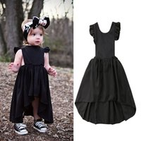 Wholesale dovetail dresses - Baby Fly sleeve dress 2018 new INS Children Backless Bow princess dresses Kids Clothing girls Boutique Dovetail Ball Gown C3771