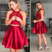 Wholesale black hot pink 15 dresses online - Hot Sell Burgundy Two Pieces Homecoming Dresses A Line Halter Neck Appliques Top Knee Length Sweet Graduation Cocktail Gowns BA9965