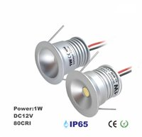 luzes de teto encastradas mini led venda por atacado-1W Mini LED teto recesso projectores, 12V armário Downlight com 25mm recortada, 60D / 120D decoração de iluminação, quarto holofotes 4pcs / lot