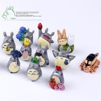 Wholesale totoro action figures - Cartoon My Neighbor Totoro Toy With Umbrella Cute Lovely PVC Action Figure Doll Kids Collection Micro Landscape Furnishing Gift 0 79my YY