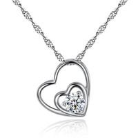 coeur pendentif coréen achat en gros de-Style coréen coeur collier en argent femmes diapositives coeur pendentif collier mode médaillon chaîne de la clavicule amour collier pression bijoux