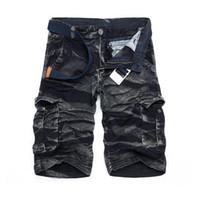 calções de bermuda para homem negro venda por atacado-Oferta especial Bermuda Masculina Dos Homens de Carga Nova Camuflagem Preta Shorts Homens Algodão Trabalho Shorts Casuais Plus Size Sem Cinto