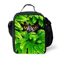 Wholesale insulated lunch bag black - Preppy Style Crazy Horse Print Kids Lunch Bag Animal Zoo Owl Tiger Cat Lunch Bags for Men Insulated Box Lancheira Termica