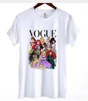 Wholesale princess vogue - Women Cotton T-shirt Cute Vogue Princess T shirt Female Short Sleeve Loose Tops Hipster VOGUE White Tshirt Girl Tees 2018