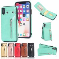 Wholesale iphone plus case wallet zipper for sale – best Luxury PU Flip Leather Wallet Case Zipper DesignerPhone Cases Cover With Button Case For iPhone XS Max Plus Samsung S9 Plus