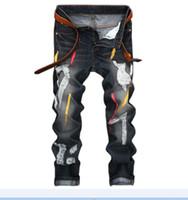 ingrosso pantaloni grandi-Moda Uomo Strappato Moda Jeans strappati Designer Slim Fit Gamba dritta Denim uomo grasso Pantaloni Big size 28-42 JB165