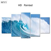 ingrosso pittura a olio d'onda-Dropshipping Pittura a olio di arte della parete stampe su tela spiaggia mare onde paesaggio moderno parete immagini per soggiorno decorazione domestica