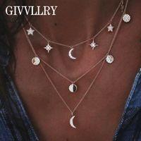 collar luna estrella vintage al por mayor-GIVVLLRY Rhinestones Star Moon Colgante Collar Moda Joyería Vintage Oro Plata Color Triple Capas Collar de cadena para las mujeres