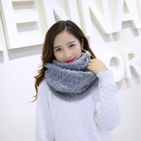 Wholesale white crochet scarf - 2017 Women Knitting Scarf Winter Warm Mesh Collar Twist Ring Crochet Scarves Infinite Loop White Gray Scarf