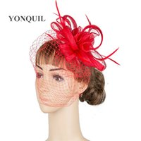 Wholesale black veil for fascinator for sale - Group buy Elegant women wedding hair fascinator headwear bridal veils hats red sinamay headpiece feathers bar hats suit for all season MYQ020