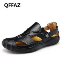 155b23e0bf78 QFFAZ New Genuine Leather Men Sandals Shoes Soft Breathable Shoes Retro Gladiator  summer men Business man Sapatos. 34% Off