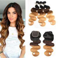 Wholesale best brazilian body wave closure resale online - Best Ombre Virgin Hair Weave Bundles with Closure Tone Blonde B Ombre Brazilian Body Wave Human Hair Extensions with Closure