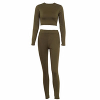 Wholesale female workout clothes for sale - Spring Women Two Piece Set Suit Long Sleeve Sexy Crop Top And Pants Elastic Leggings Workout Clothes Tracksuits Female