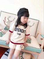 Wholesale Summer Boys Pcs Set - Free shipping 2018 New Summer Boys Clothing Sets Kids girl letter Tops T-shirt+Digital Shorts 2 Pcs Boys Sports Suit