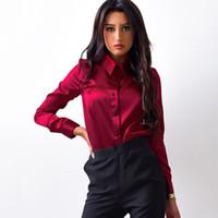 женские блузки оптовых-MOARCHO женщины шелк атласная блузка кнопка лацкан с длинным рукавом рубашки дамы офисная работа элегантный женский топ высокое качество blusa