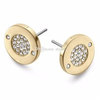 Wholesale wholesale wedding earings for sale - New York Fashion Pave Tone Stud Earrings High quality crystal round Earings fashion brand Wedding jewelry for women girls