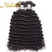 düz dalgalar saç toptan satış-10-26 inç Brezilyalı Derin Dalga Bakire Insan Saçı Doğal Siyah Renk 100% Ham Işlenmemiş Yumuşak Pürüzsüz 3 demetleri / Lot Ücretsiz Kargo OEM Hizmeti