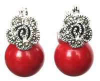 ingrosso orecchino in corallo-Orecchini in argento 925 con marcasite fiore di perline di corallo rosso 12mm da donna nuovi orecchini a sfera in pietra naturale da donna ORECCHINI CON PERLE