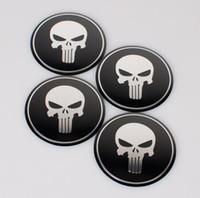 Wholesale car skull emblems - 4pcs set Car Styling Aluminum alloy Cool Punisher Symbol Skull Center Wheel Cover Labeling Emblem Car Sticker Badge