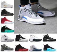 Wholesale Body French - 2018 Mens 12 12s basketball shoes white Black Nylon Flu Game Barons wolf grey taxi playoffs gamma french blue Sporst sneakers Eur 41-47