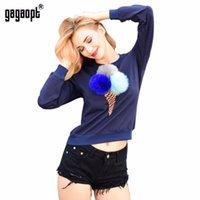 Wholesale longsleeve woman - Gagaopt 2017 Autumn Sweatshirt Women Colorful Plush Ball Longsleeve O-neck Causal Tracksuit Ladies Truien Dames Women Hoodies