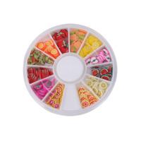 bastones de fruta al por mayor-120 Unids 3D Nail Art Fruit Pattern Manicure Fimo Canes Etiqueta DIY Decoración Herramienta