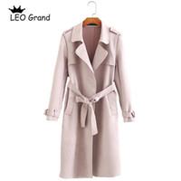 trincheira rosa feminina venda por atacado-Leo Grand mulheres Rosa Khaki casaco turn down colarinho bow tie cintos outwear bolsos elegante longo Trench 910064 Y1891708