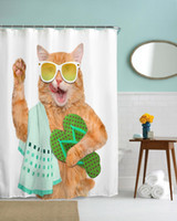 Wholesale cat shower curtains for sale - Group buy Modern Cartoon QIYI Teeth Brushing Fat Cat Water proof Polyester Shower Curtain D High Defintion Printing Waterproof