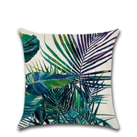 Wholesale case plant cover resale online - Eco Friendly Tropical Plant Printed Cushion Cover Green Leaves Linen Pillow Case Soft Chair Car Sofa Pillow Cover Home New Year Decor