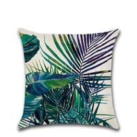 canapé tropical achat en gros de-Eco Friendly Tropical Plante Imprimé Coussin Feuille vert Lin Taie Soft Chair / voiture / Canapé-Taie d'oreiller Accueil Nouvel An Décor