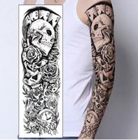 armband tattoos designs großhandel-Temporärer Tätowierungs-Aufkleber-Schädelclown Pokeruhr Entwurfs-voller Blumen-Arm-Körper-Kunst-Beckham großer großer gefälschter Tätowierungs-Aufkleber geben Verschiffen frei