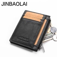 Wholesale Pattern For Coin Purse - Cowhide Leather Lichee Pattern Wallet 6 Card Slots Card Holder Zipper Coin Purse For Men Black Coffee Color R017