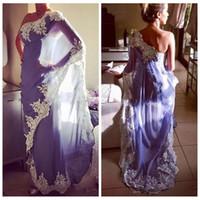 elie saab vestido verde curto venda por atacado-2018 Elegante Um Ombro Egito Marroquino Kaftan Vestidos de Noite Abaya Dubai Muçulmano Formais Vestidos de Festa Com Apliques de Renda