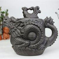 yixing juegos de tetera de arcilla al por mayor-Auténtica tetera de Yixing Dragon y Phoenix Tea Pot 530ml Tetera de arcilla púrpura de gran capacidad Tetera Kung Fu Tetera