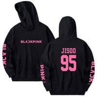 корейские толстовки с капюшоном оптовых-BLACKPINK толстовки корейский женщины / мужчины с длинным рукавом кофты Sweatershirtи хип-хоп случайные свободные толстовки одежда пуловер печатных