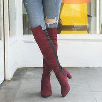 plus größe knie stiefel frauen großhandel-Oberschenkel hohe Stiefel Frauen Herbst Winter High Heels über das Knie lange Stiefel sexy spitze Zehe warm plus Größe Schuhe Damen botas