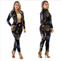 Wholesale Sexy Tracksuits - Two Piece Pant Women's new Jogging Sport Suit Sexy casual Tracksuit printing Top + Long pants Womens Outfits bodysuits