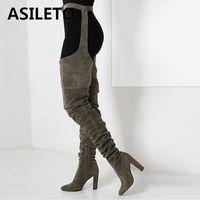 botas de cremalleras al por mayor-ASILETO Europeo Sexy Botas sobre la rodilla para mujer Zapatos Cremallera puntiaguda Tacones altos zapatos mujer Muslo largo Botas altas botines