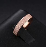 Wholesale womens gold wedding bands resale online - Rose Gold Tone Frosted Engagement Rings mm Simple Classic Stainless Steel Womens Wedding Band Ring Jewelry Gift US Size