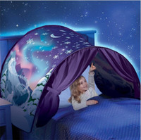 weiße netzleuchten großhandel-Baby Traumzelt Fantasy Faltbares Einhorn Mond Weiß Cosmic Space Anti Moskitonetz Zelt Phantasie Schlafstütze Beinhaltet Nachtlicht 27hs Z.