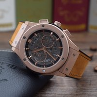 Wholesale Watches Hb - Luxury brand HB watch Nubuck leather Rubber strap Quartz movement style Multifunctional chronograph High-quality Man's wrist watch factory