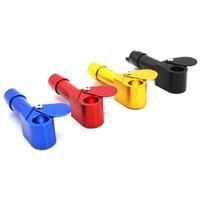 proto rauchen rohr großhandel-Neues Design-Proto-Pfeife mit der Kraut-Schüssel, die Kappe schiebt Viele farbige tragbare Tabak-Mini-Rohr-Aluminium-Metallklecks-Ölplattform