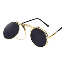 Wholesale black steam - Round sunglasses Designer Sunglasses steam punk Metal de sol women COATING SUNGLASSES Men Retro CIRCLE SUN GLASSES