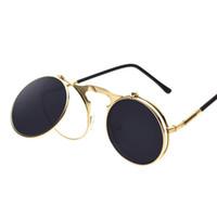 tasarımcı daire güneş gözlüğü toptan satış-Yuvarlak güneş gözlüğü Tasarımcı Güneş Gözlüğü buhar punk Metal de sol kadınlar KAPLAMA SUNGLASSES Erkekler Retro Çember GÜNEŞ GÖZLÜĞÜ
