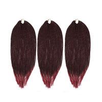 burg saç uzantıları toptan satış-Zxtress Senegalese Tığ Büküm Sentetik Örgü Saç Uzantıları Isıya Dayanıklı Kanekalon 3 adet / grup 81 strands / paket Ombre Siyah BURG Mor