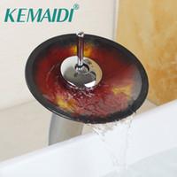 Wholesale Chrome Glass Bathroom Basin Sink - KEMAID Bathroom Faucet Advanced Glass Waterfall Chrome Brass Bathroom Basin Mixer Sink Faucets Waterfall Tap