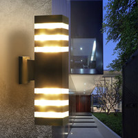 Wholesale waterproof balcony lights online - Modern Waterproof Up Down Aluminum Outdoor LED Wall Light Fixtures Dual Head Wall Lamp E27 led bulb for Yard Porch Corridor Balcony