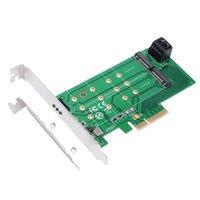 ssd kartları toptan satış-PCIe x 4 - NGFF M.2 M Tuşu (PCIe) SSD + SATA - 2 x NGFF M.2 B Tuşu (SATA) SSD adaptör kartı PCIe x4 veya x8 veya x16 yuvasını destekler