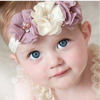 saç elmas şeritler toptan satış-Yeni Moda Sıcak çocuk çocuklar Bebek kız inci elmas 3 çiçekler Bandı Şapkalar Saç Bandı çiçek Kafa Aksesuarları