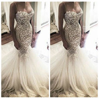 Wholesale online beaded wedding gowns resale online - 2018 Sexy Spaghetti Mermaid Lace Appliques Slim Wedding Dresses Custom Online Bridal Gowns Beaded Pearls Lace Up Back African Dubai Fashion